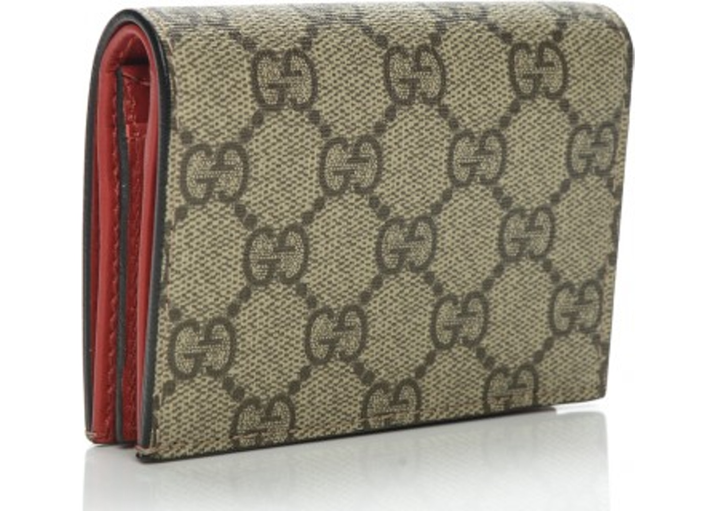 Gucci Card Case Wallet Monogram Gg Supreme Cherries Closure Ruby Crystals Brown Beige Hibiscus Red Green