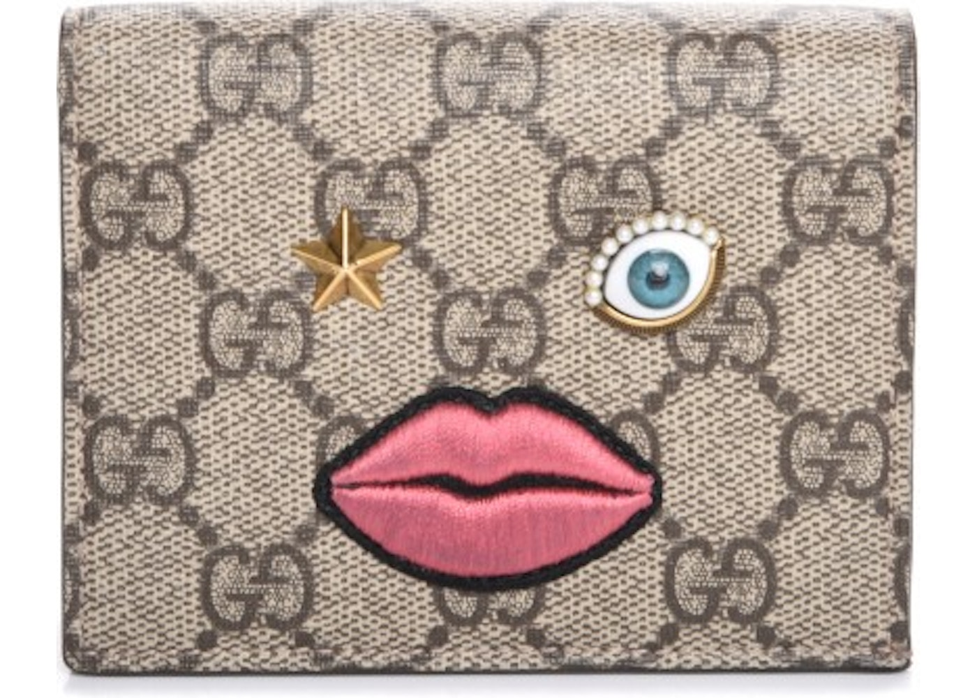 4f7d8707693844 Gucci Card Case Wallet Monogram GG Supreme Embroidered Face ...