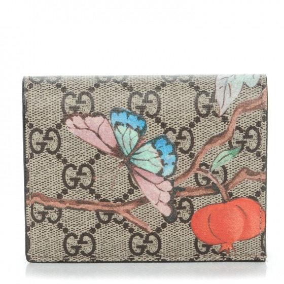 Gucci Card Case Wallet Monogram GG Supreme Tian Print Brown/Beige/Pink/Blue