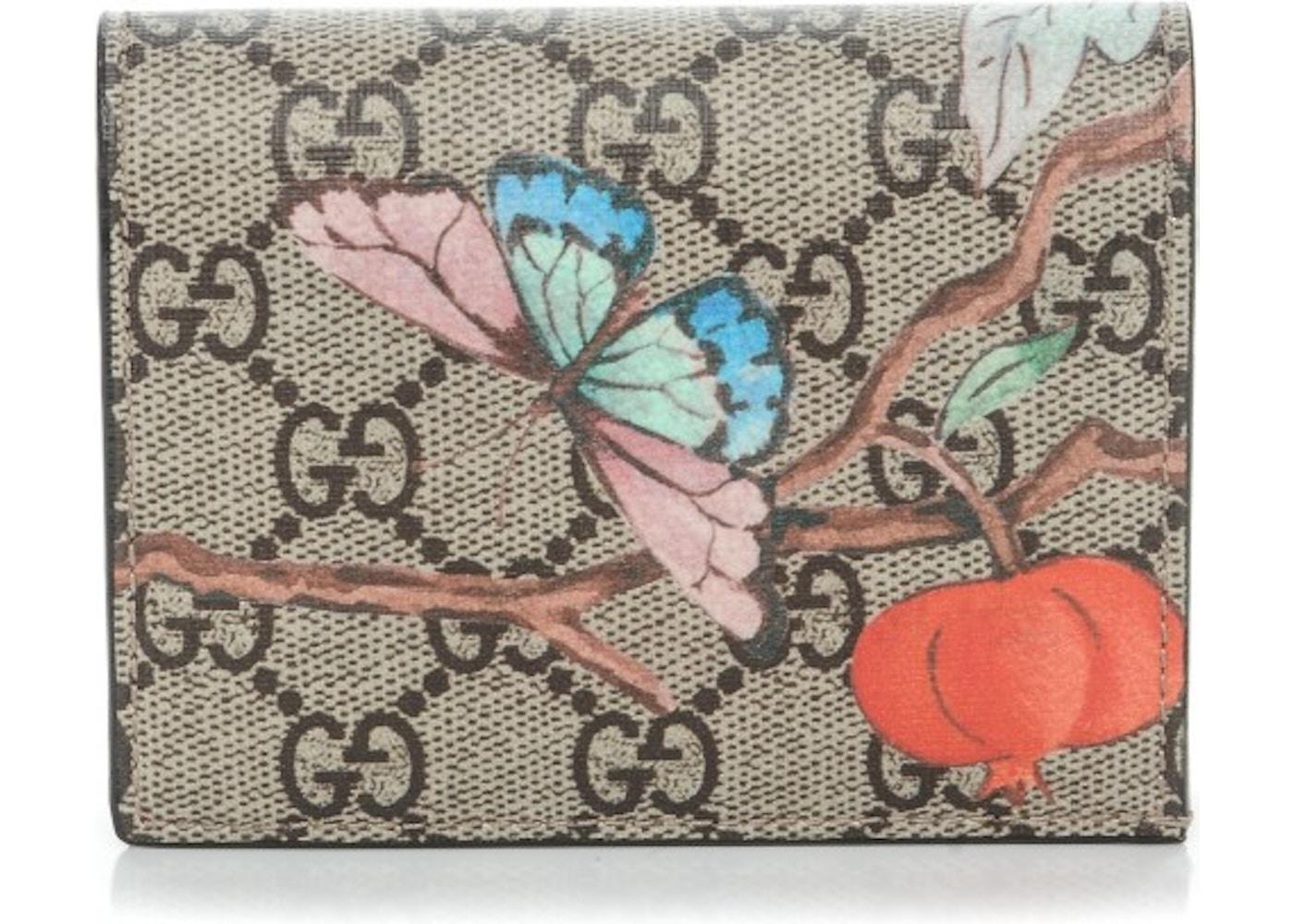 81355339f7857f Gucci Card Case Wallet Monogram GG Supreme Tian Print Brown ...