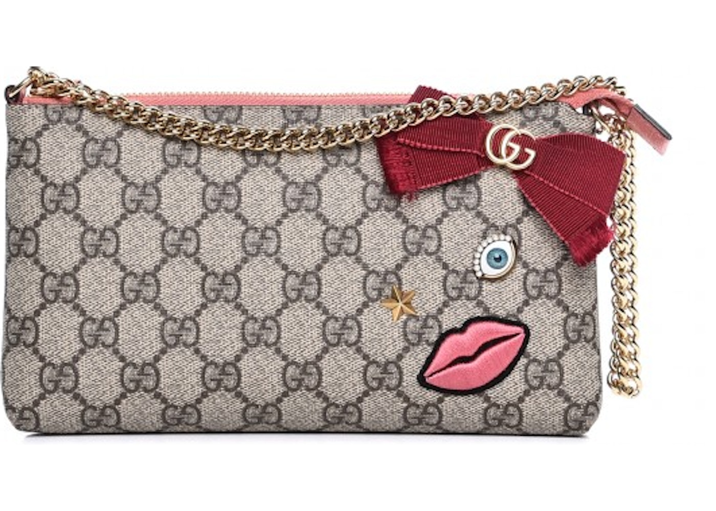 4d6f0886e Gucci Chain Wrist Wallet Monogram GG Embroidered Face Pink ...