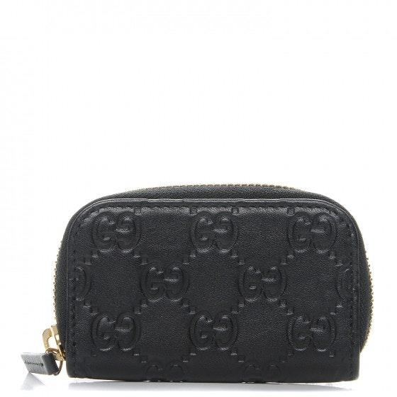 Gucci Coin Purse Zip Around Wallet Monogram Guccissima Black