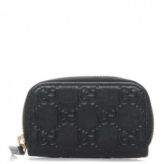Gucci Coin Purse Zip Around Wallet Monogram Guccissima Black