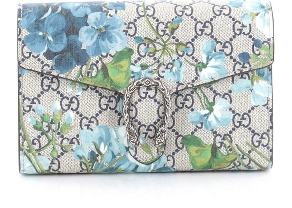 81196f4fe50 Gucci Dionysus Wallet GG Blooms Print Tiger Head Spur Detail Small  Taupe Blue