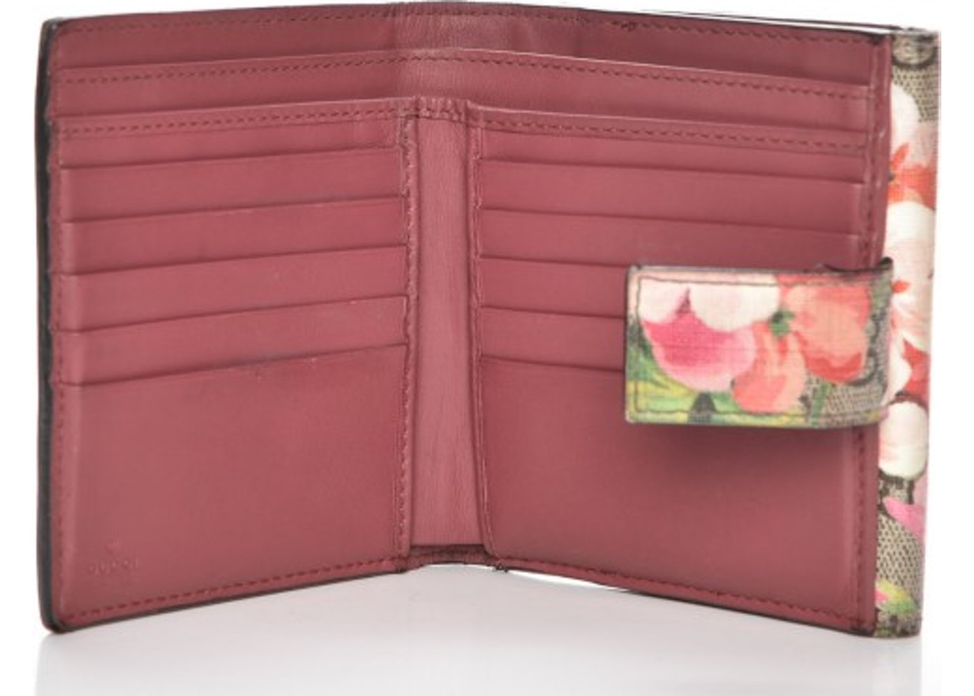 2749050d967 Gucci French Flap Wallet Blooms GG Pink Brown Beige Green