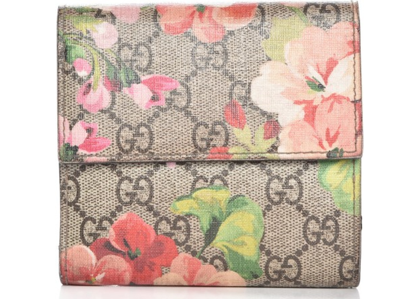 767cd67d0ea Gucci French Flap Wallet Blooms GG Pink Brown Beige Green. Blooms GG  Pink Brown Beige Green