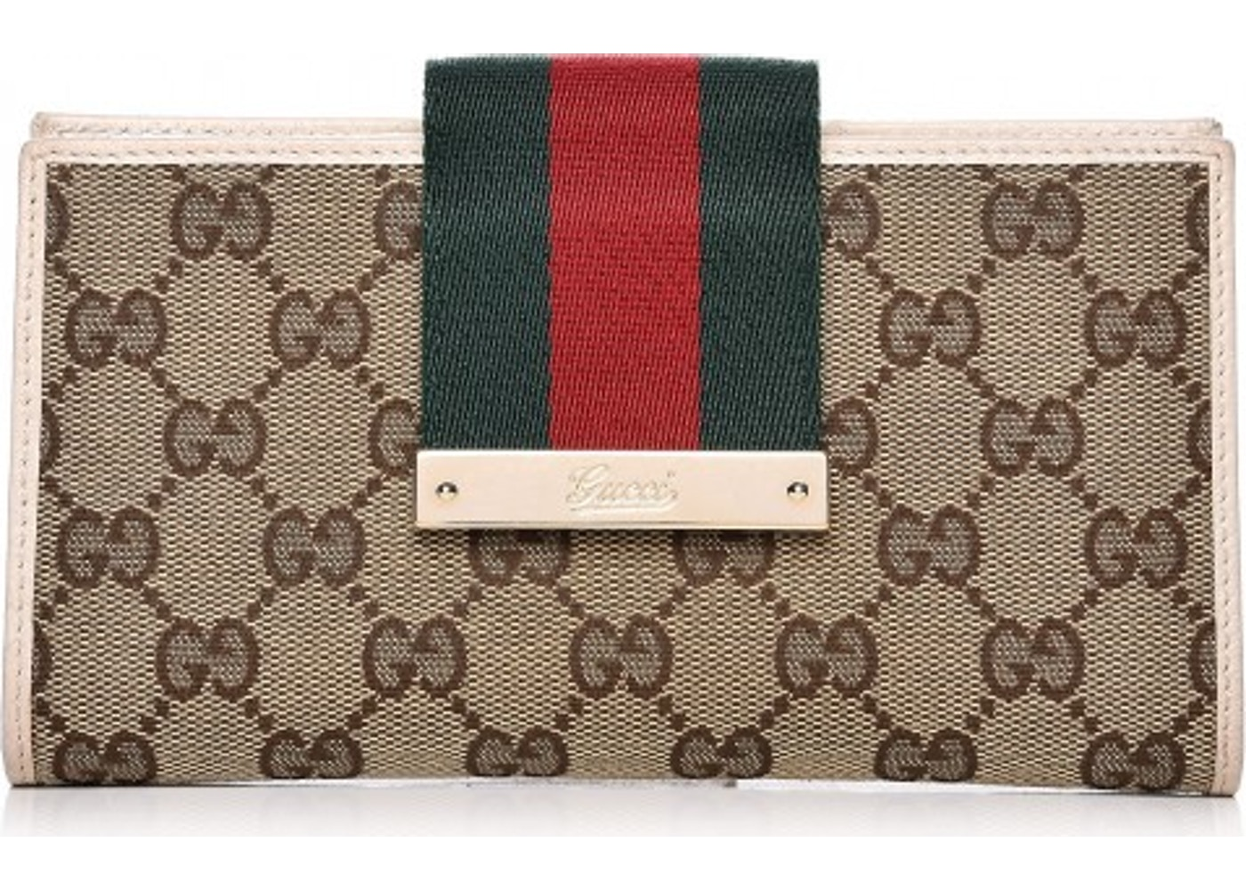862e02b0616 Gucci Ladies Web Continental Wallet Monogram GG Brown Beige Green Red.  Monogram GG Brown Beige Green Red