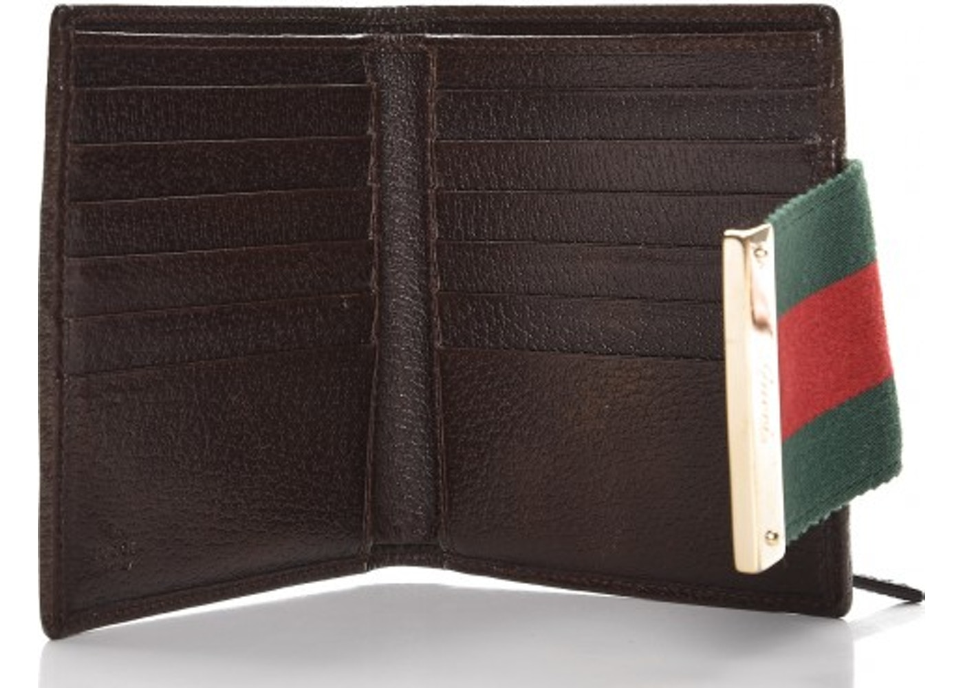 a846d9654271 Gucci Ladies Web French Flap Wallet Monogram GG Dark Brown/Green/Red