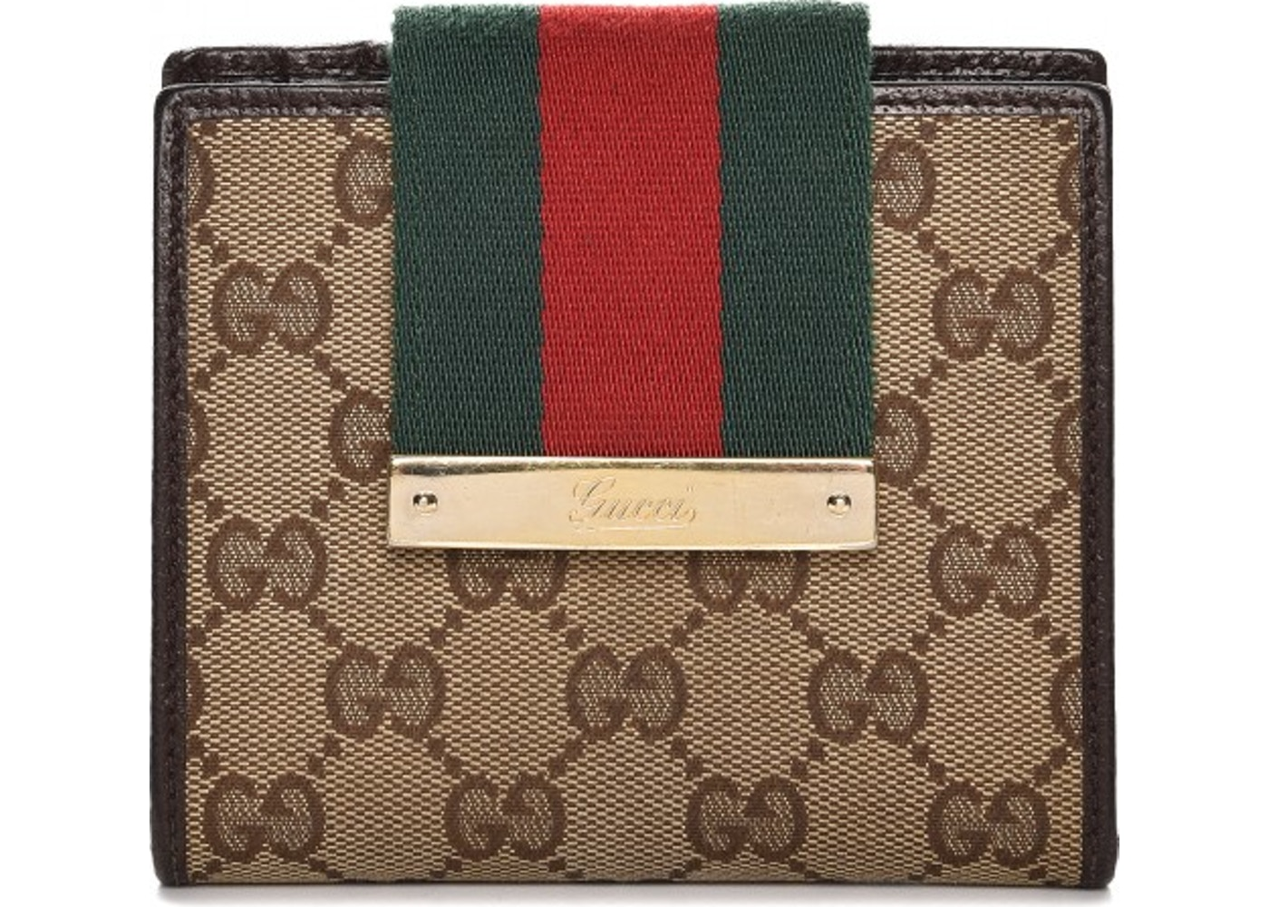 7a8059fdfd15 Gucci Ladies Web French Flap Wallet Monogram GG Dark Brown/Green/Red.  Monogram GG Dark Brown/Green/Red