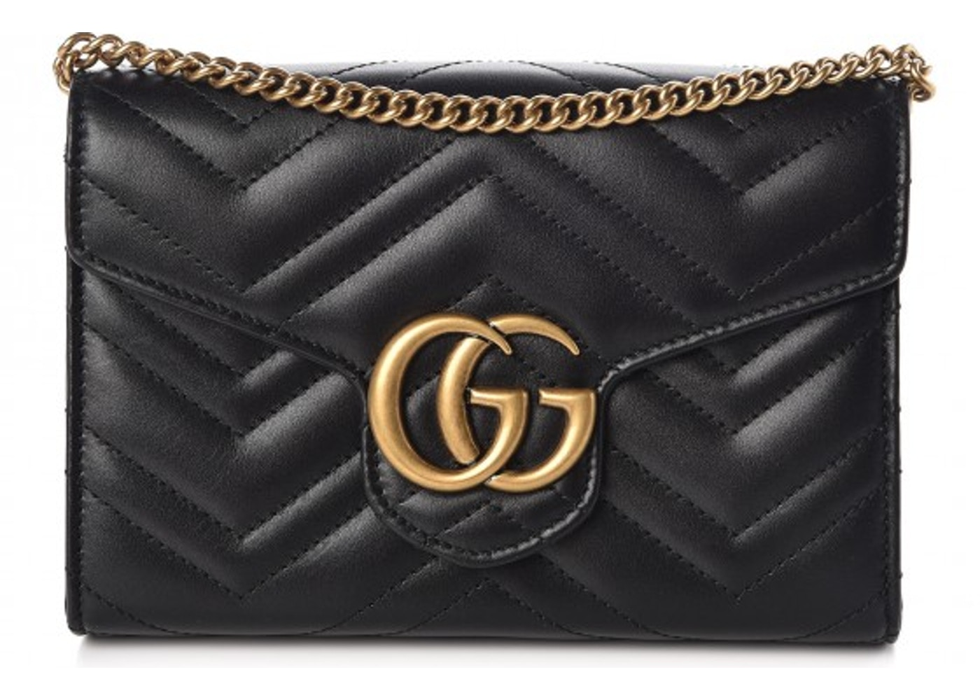 aacf824234c Gucci Marmont Chain Wallet Matelasse Mini Black. Matelasse Mini Black