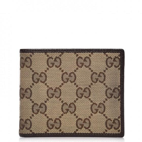 Gucci Mens Bifold Wallet Monogram GG Brown/Beige