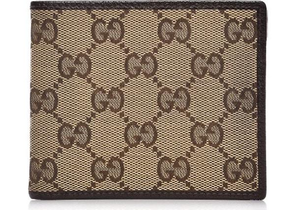 7e68764afa8 Gucci Mens Bifold Wallet Monogram GG Brown Beige