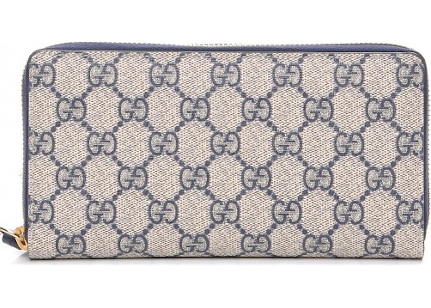 9c4c646f443380 Gucci Zip Around Wallet Monogram GG Supreme Blue/Beige. Monogram GG Supreme  Blue/Beige