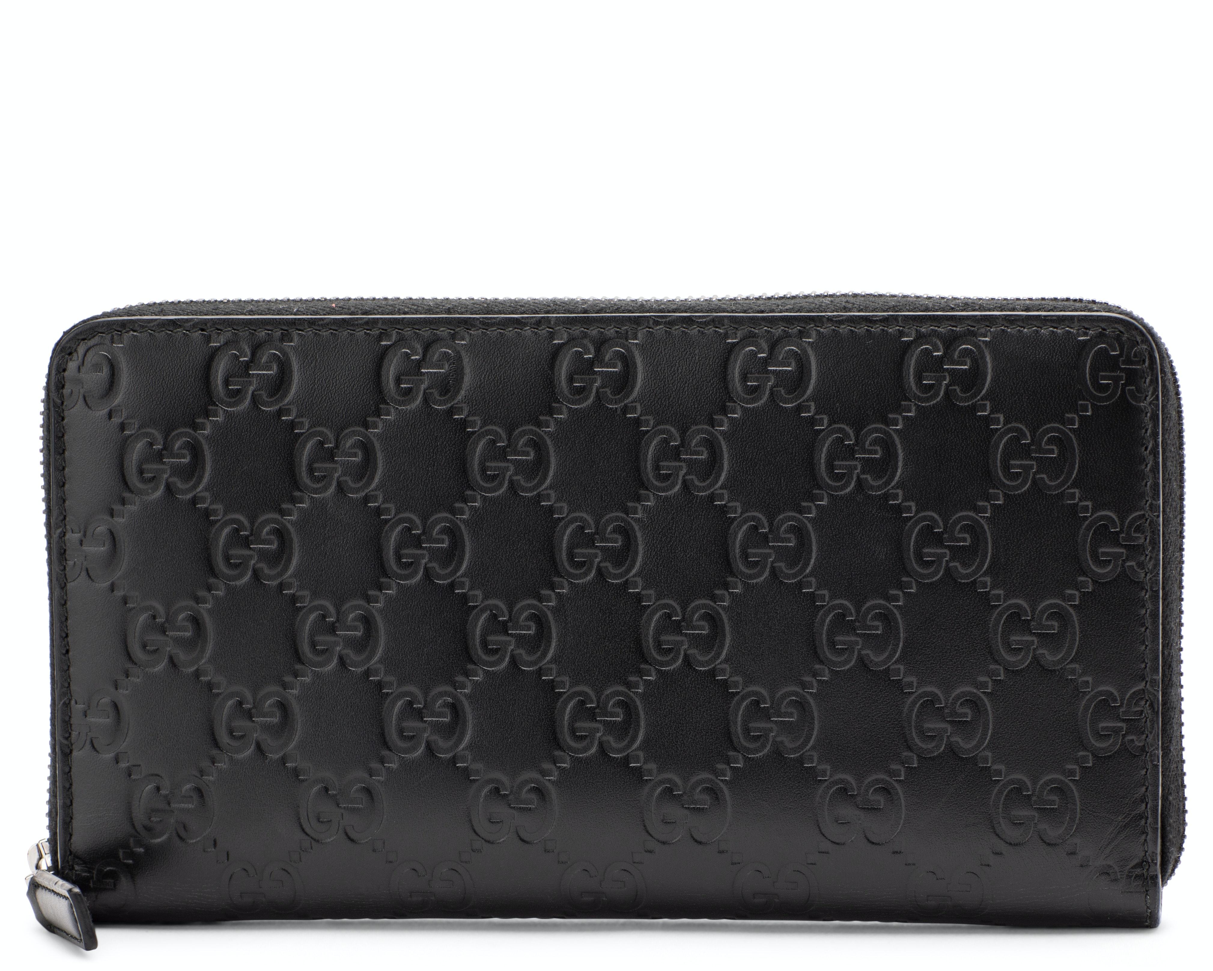Gucci Zip Around Wallet Monogram Guccissima Black