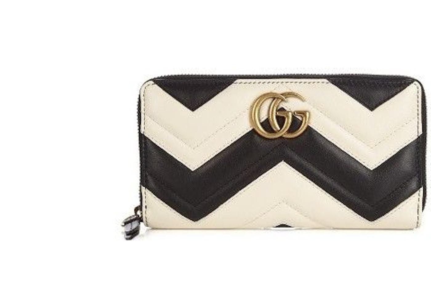 f171e6442b02 Gucci Marmont Wallet Zip Around Matelasse Black/White. Matelasse Black/White