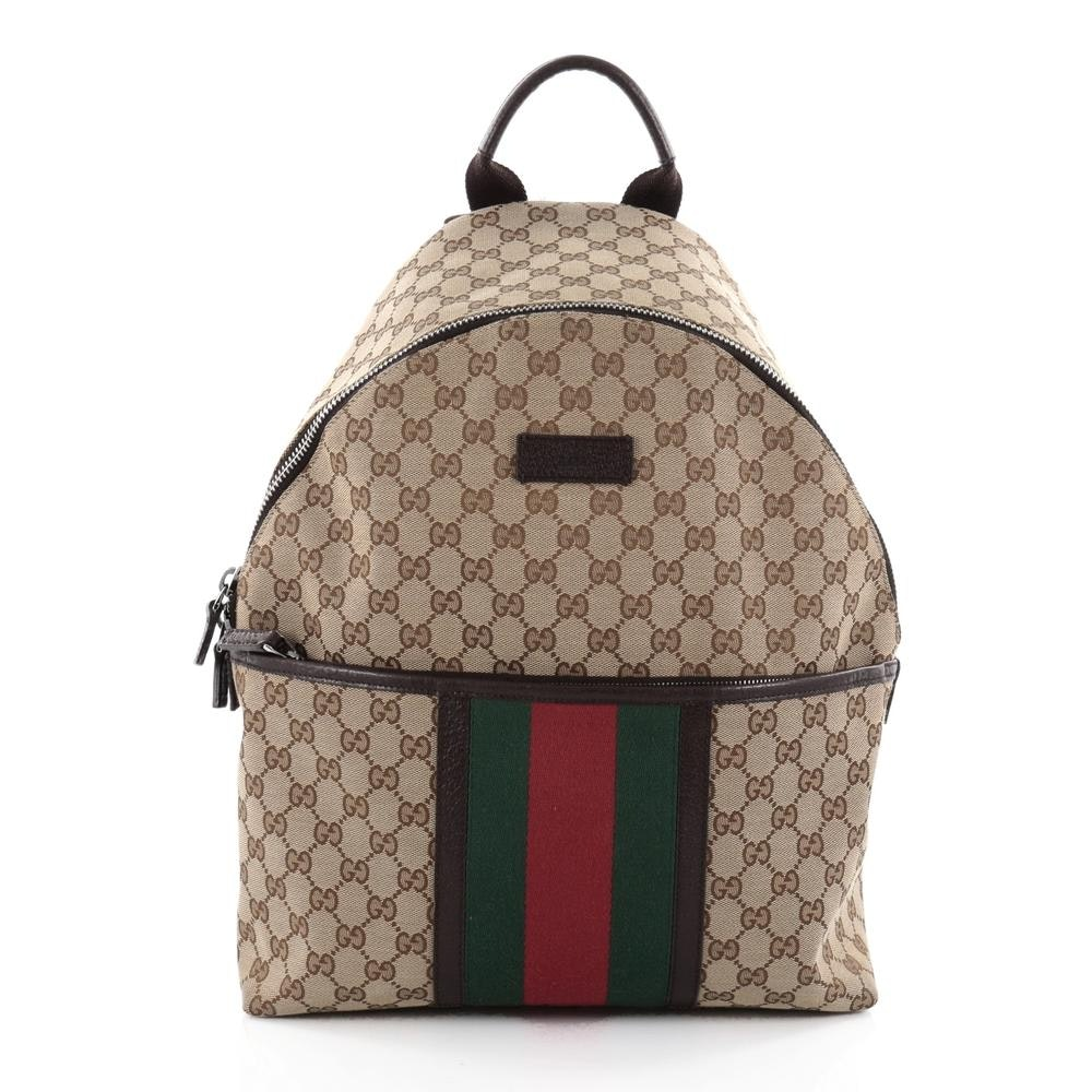 Gucci Web Backpack GG Web Stripes Medium Brown/Green/Red