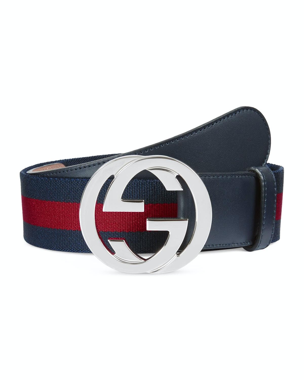 Gucci Web Belt Palladium G Buckle 1.5 W Blue/Red