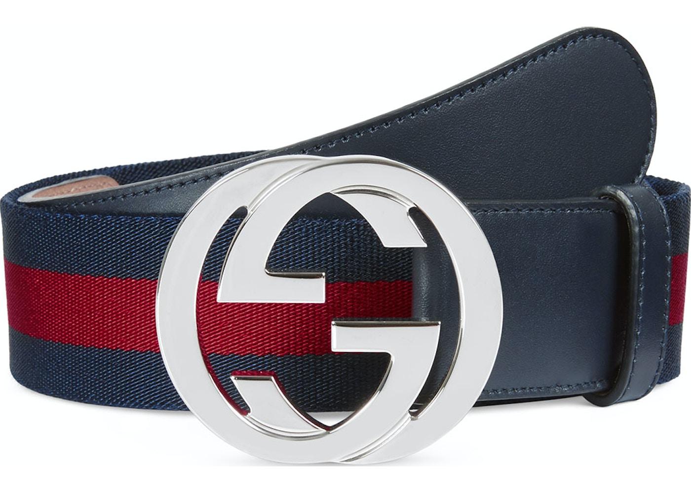 73dae7fdcaf Gucci Web Belt Palladium G Buckle 1.5 W Blue Red. Palladium G Buckle 1.5 W  Blue Red
