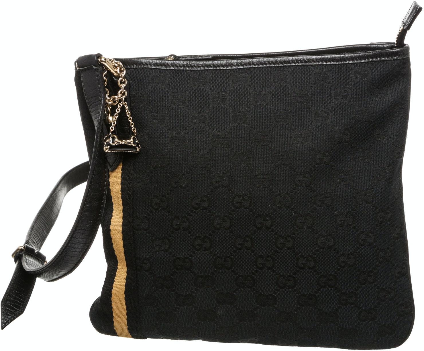 Gucci Web Jolicoeur Charms Messenger Monogram GG Black