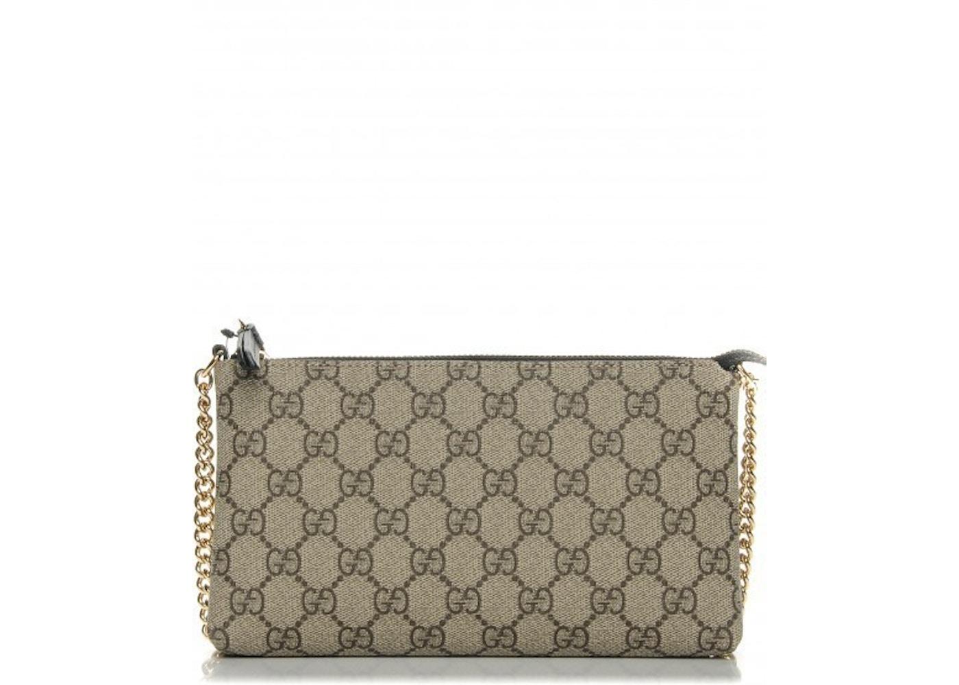 c4045da64 Sell. or Ask. View All Bids. Gucci Wrist Wallet Chain Wallet Monogram GG  Supreme Brown