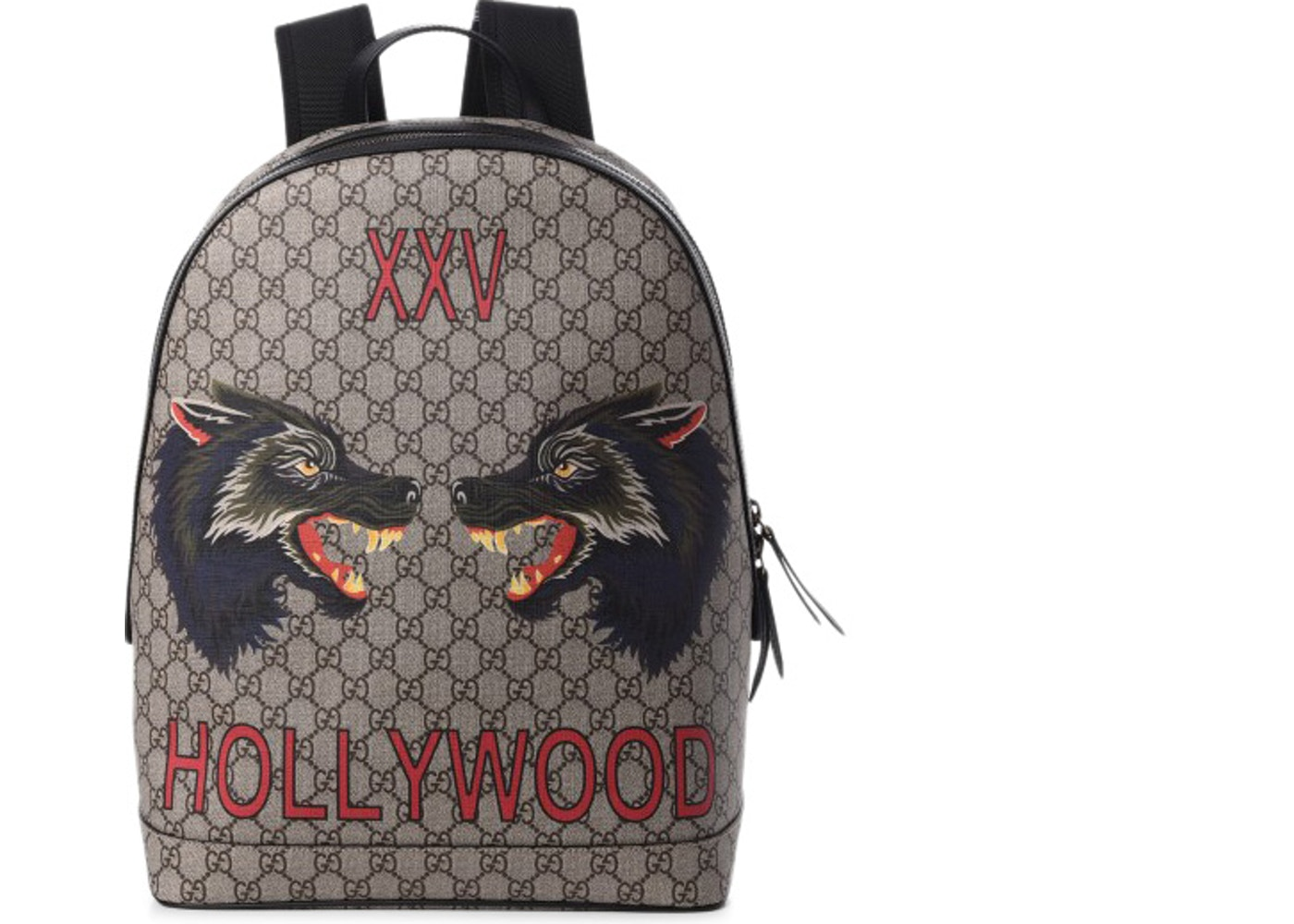 Gucci XXV Hollywood Backpack GG Supreme Wolf Print Brown Black 0bd824bb403c8