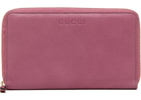46d27de4f482 Gucci Zip Around Wallet Grained Calfskin Pink