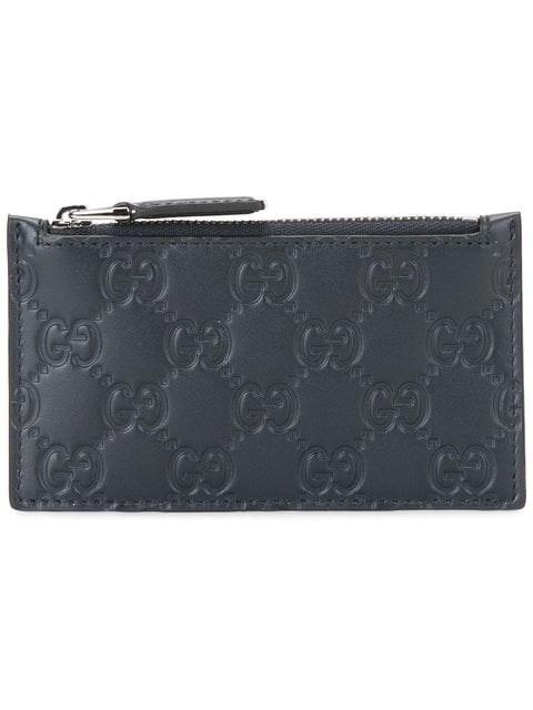 Gucci Zip Coin Pouch Card Case Guccissima Blue