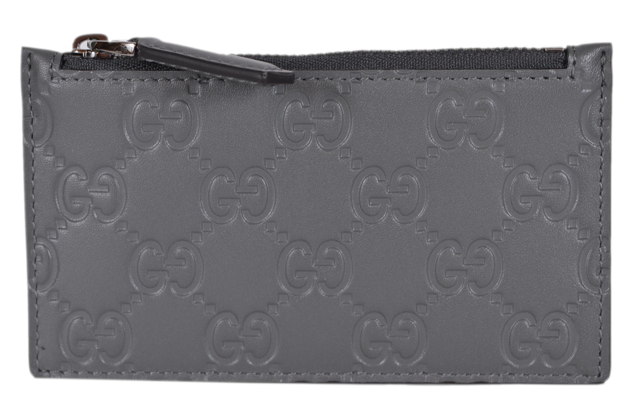 Gucci Zip Coin Pouch Card Case Guccissima Grey