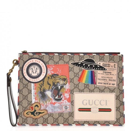 Gucci Zip Pouch Monogram GG Supreme Courrier Blue