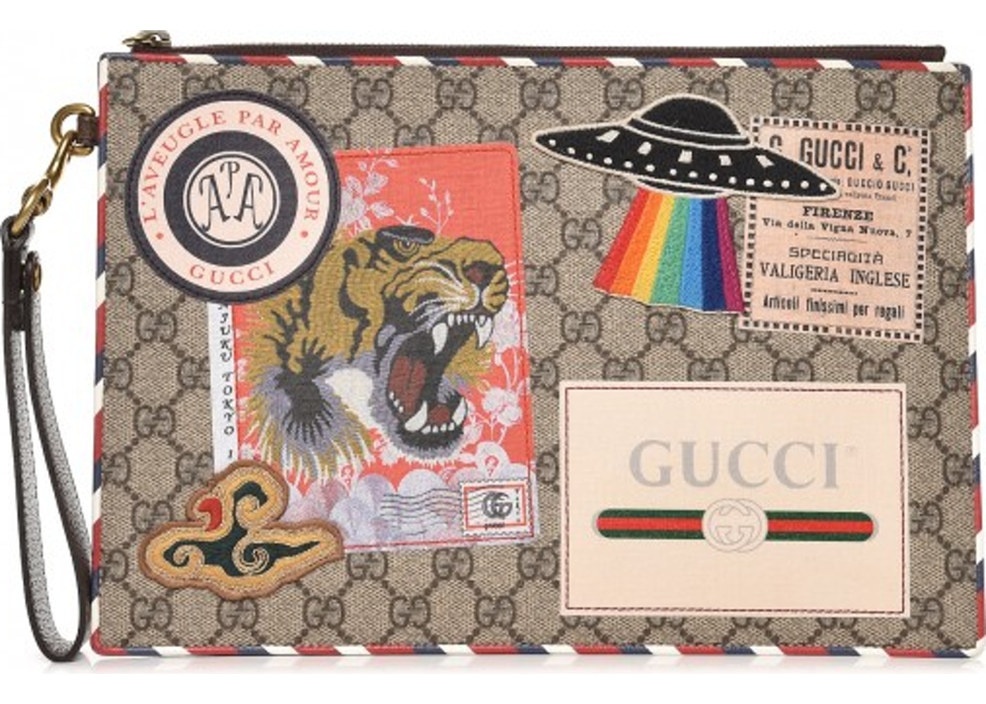 8c1b7f6b6 Gucci Zip Pouch Monogram GG Supreme Courrier Beige/Ebony