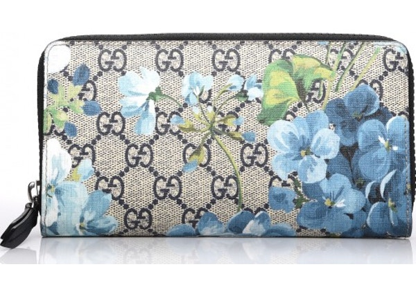 d27f1b9bc91 Gucci Zippy Wallet Blue Blooms Silver-Tone Large Beige Ebony