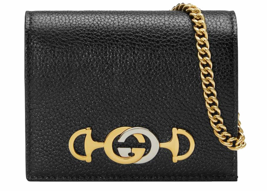 Gucci Zumi Card Case Grainy Leather Black