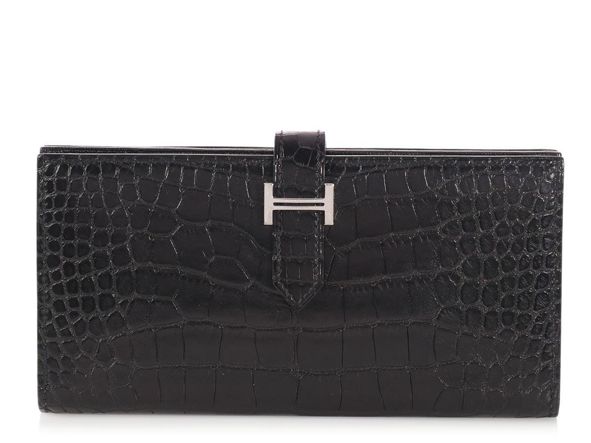 Hermes Bearn Wallet Matte Alligator Black