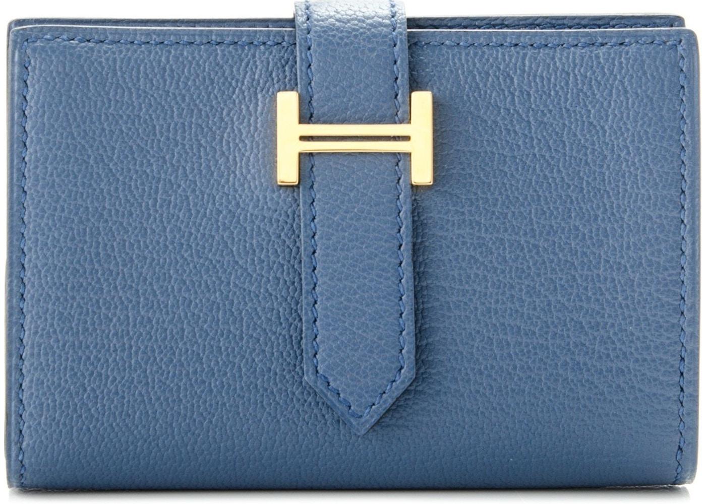 6f5cb3663e25 Hermes Wallet Bearn Compact Chevre Mysore Mini Bleu Agate. Chevre Mysore  Mini Bleu Agate