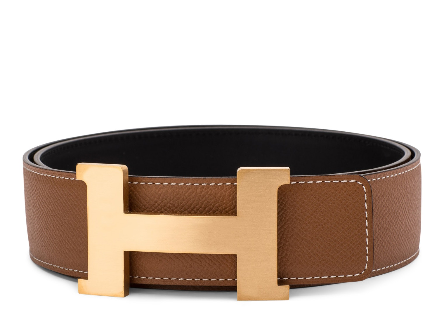 Hermes Constance Belt Buckle & Reversible Leather Strap 1.75 Width Natural