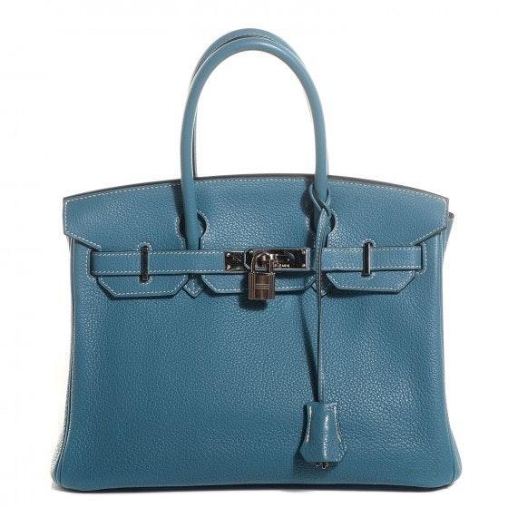 Hermes Birkin Clemence 30 Blue Jean
