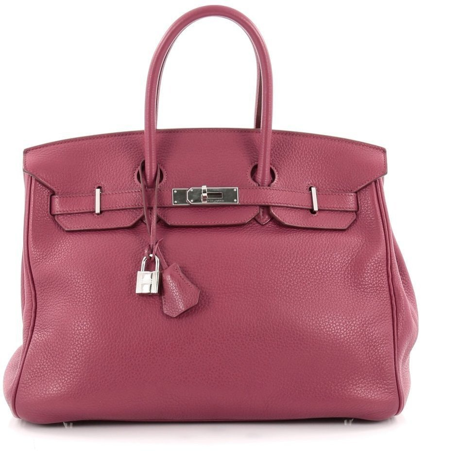 Hermes Handbag Birkin Clemence 35 Bois De Rose
