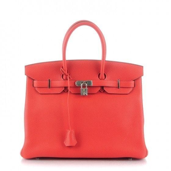 Hermes Birkin Clemence 35 Rouge Pivoine