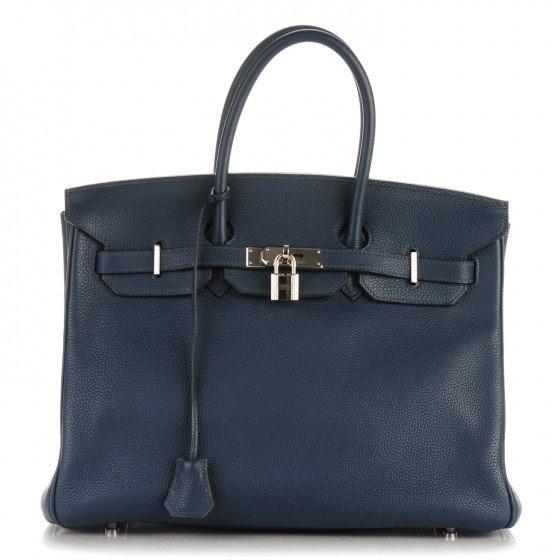 Hermes Birkin Taurillon Clemence 35 Bleu De Prusse