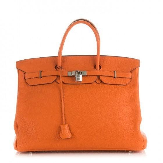 Hermes Birkin Taurillon Clemence 40 Orange