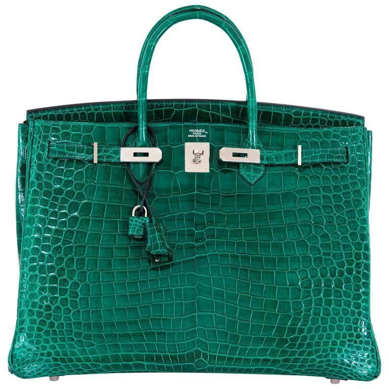 Hermes Birkin Shiny Braise Porosus Crocodile 40 Vert Emerald