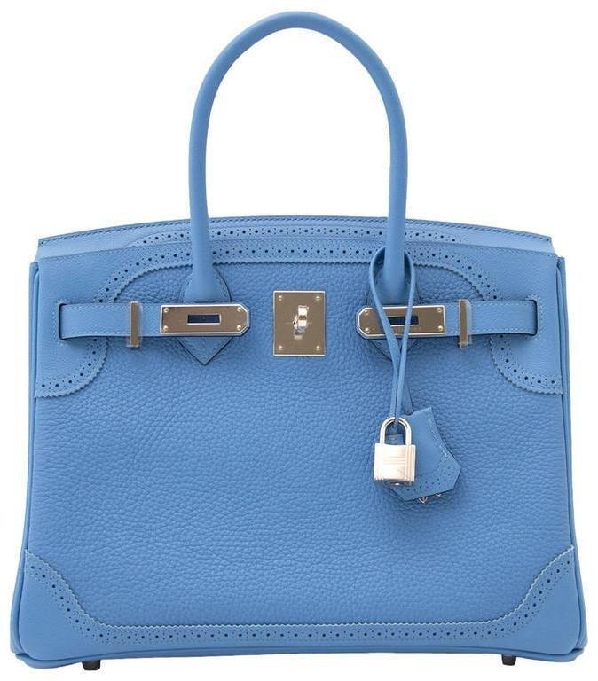 Hermes Birkin Clemence 30 Bleu Paradis