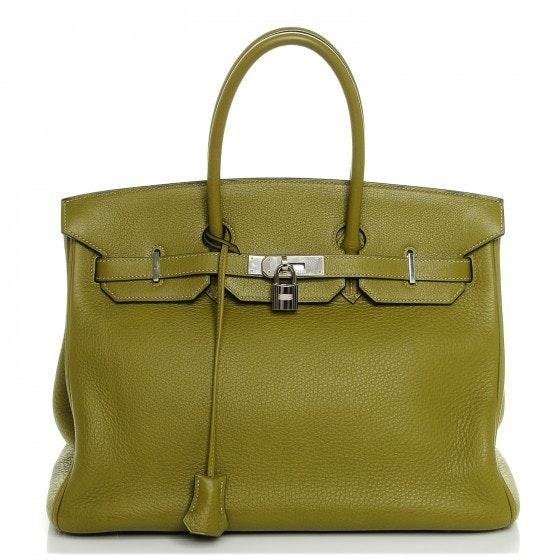 Hermes Handbag Birkin Clemence 35 Chartreuse