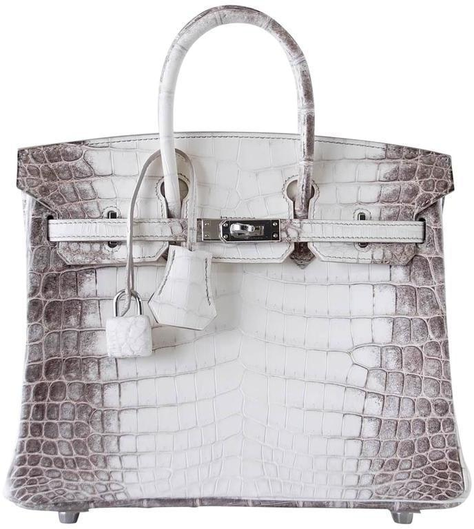 Hermes Birkin Himalayan Crocodile Matte 25 White/ Brown