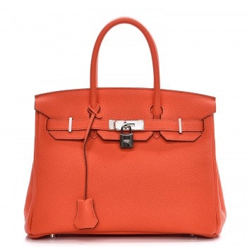Hermes Birkin Taurillon Clemence 30 Orange Poppy