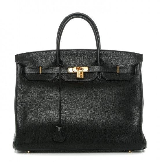 Hermes Handbag Birkin Clemence 40 Noir Black