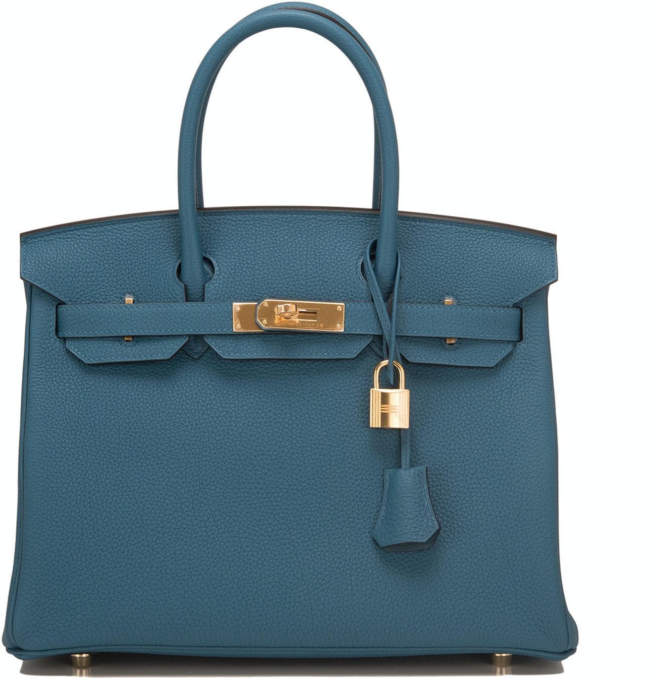 Hermes Birkin Togo 30 Bleu Colvert