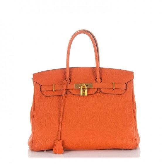 Hermes Birkin Togo 35 Orange Gold