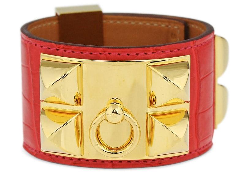 Hermes Bracelet Collier de Chien Alligator Small Geranium