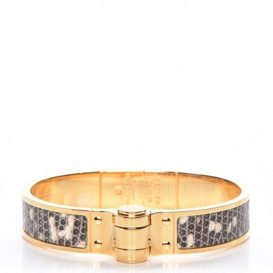 Hermes Bracelet Narrow Charnier Cuir Hinged Lizard S